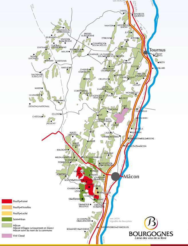 Carte des vins du mâconnais